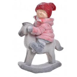 Chłopiec na koniku w czerwonym sweterku 40x18x55 cm - art. dekoracyjny - ceramika