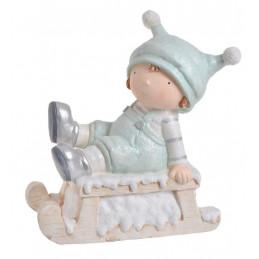 Chłopczyk na sankach - wyrób ceramiczny