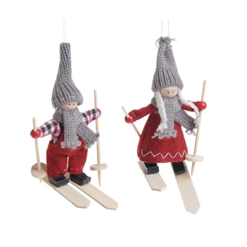 Pacynka narciarz 15 cm, 2szt-kpl - zawieszka choinkowa