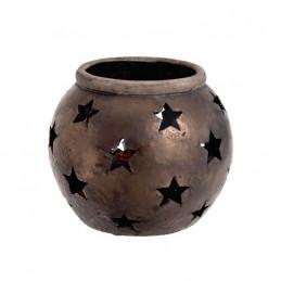 Osłonka z ażurowymi gwiazdkami 15 cm - ceramika