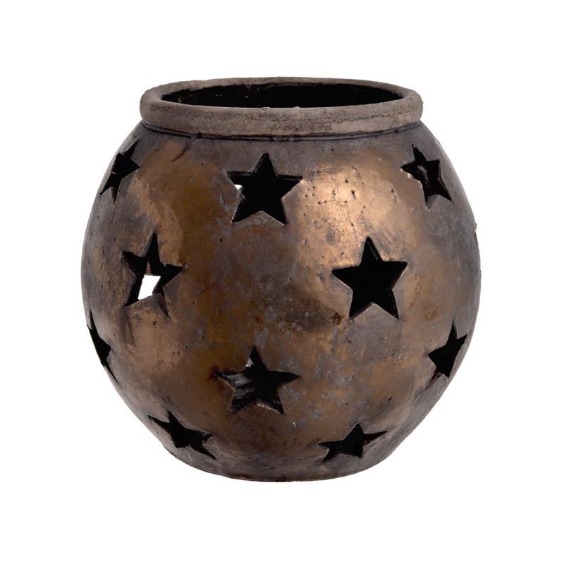 Osłonka z ażurowymi gwiazdkami 22 cm - ceramika
