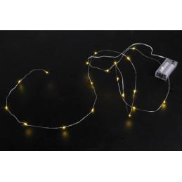 Lampki 20LED 2m -światło zimne,ciepłe, ciepłe z zielonym drutem, zasilane 2AA