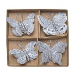 Motylki brokatowe na klipie 8 sztkpl..5-6 cm