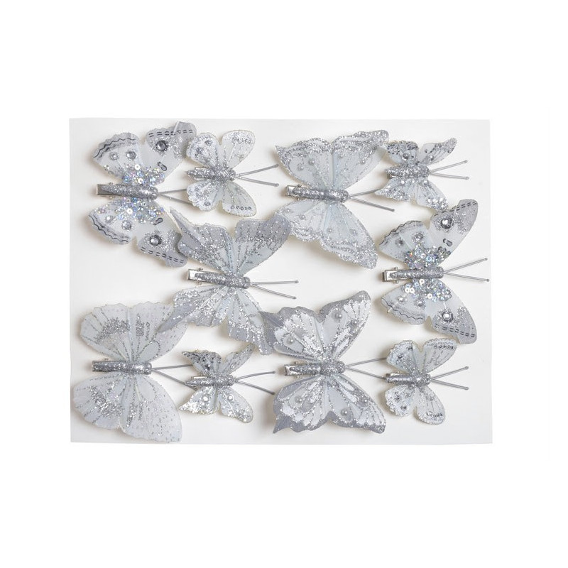Motylki brokatowe na klipie 10 szt/kpl..4-6 cm