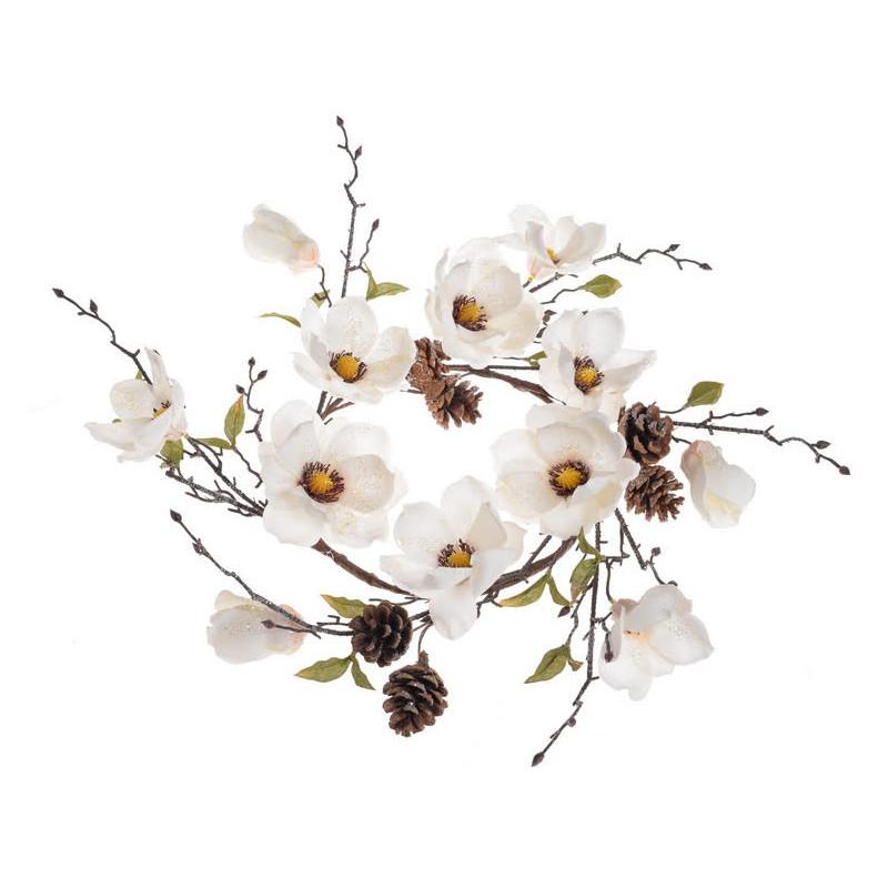 Wianek z brokaconą magnolią 55 cm