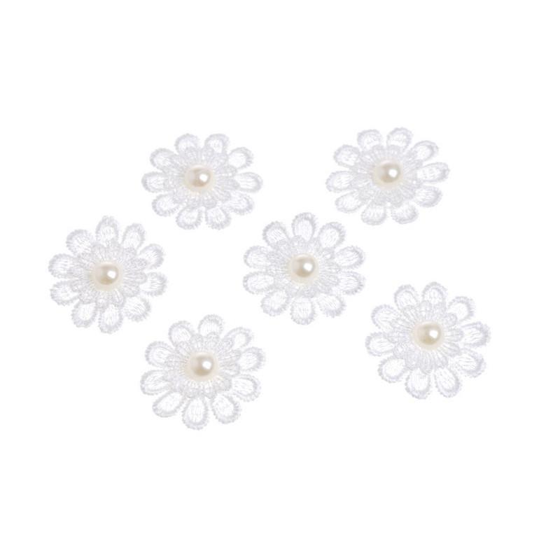 Aplikacje kwiatki z perelkami 6szt/4cm