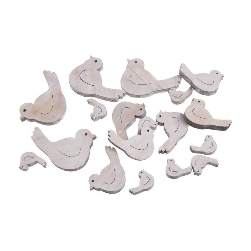 Ptaszki biało-szare mix 18szt..7,5-3cm