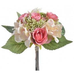 Bukiet róż z hortensją x 9, 30 cm