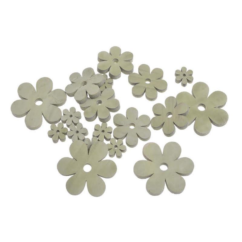Kwiatki  biało-szare mix 7-2,5 cm, 18 szt-paczka