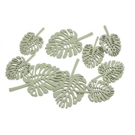 Liście zielone monstera mix, 8szt..10cm,7cm