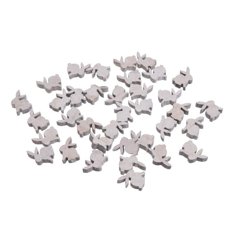 Zające wykrawane biało-szare 2,5cm, 36szt