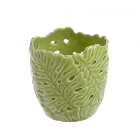 Świecznik liść  9cmH - wyrób ceramiczny