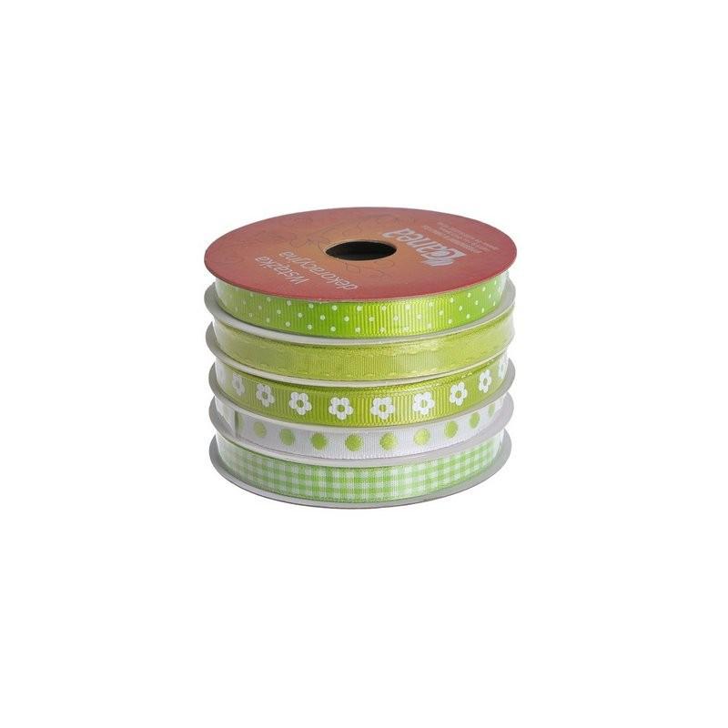 Wstążka dekoracyjna 1cm x 5m, 5szt-kpl GREEN