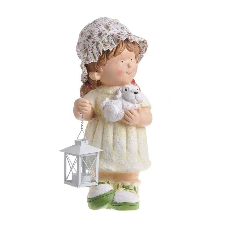 Dziewczynka ze szczeniakiem 40 cm - ceramika