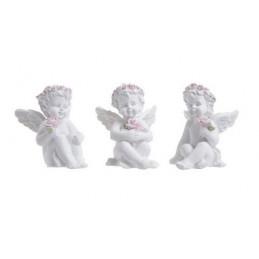 Aniołki z różowymi wiankami 3szt-kpl..6,5 cm
