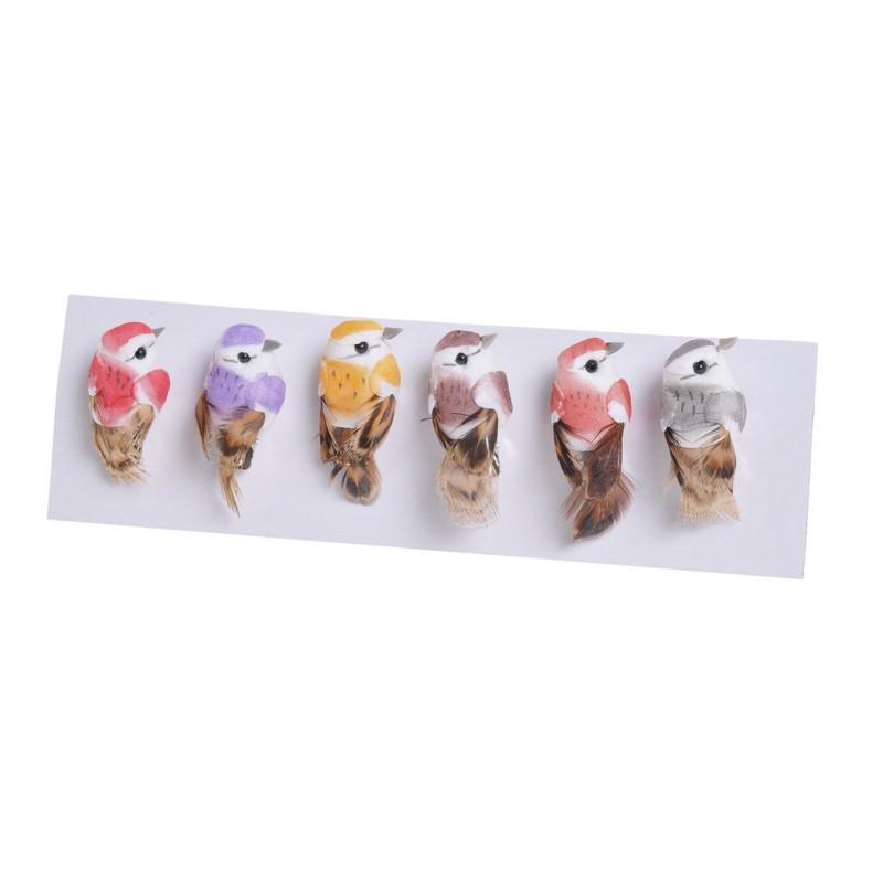 Ptaszki 5,5 cm, na klipie mix kol. 6szt-kpl