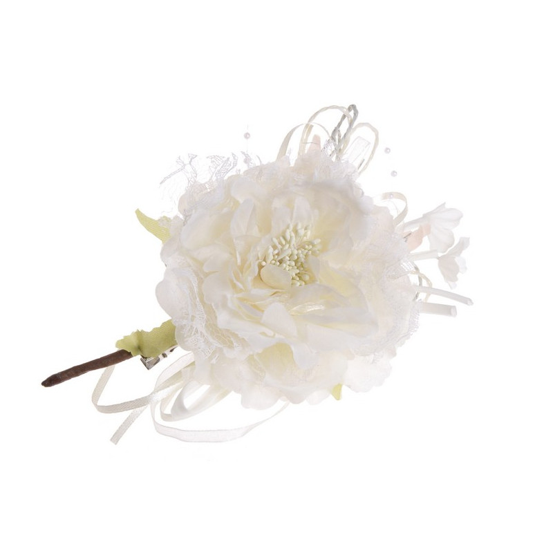 Róża koronkowa z klipem 11 cm