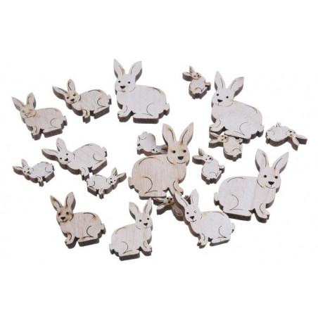 Zajączki biało-szare mix 7-3 cm, 18 szt-paczka