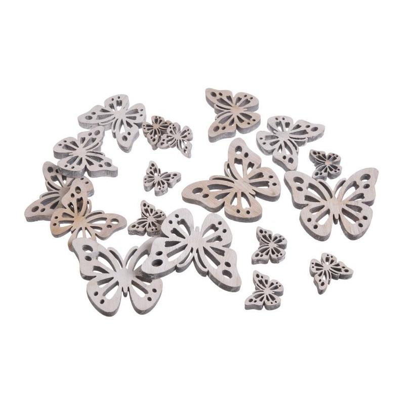 Motylki biało-szare mix 7,5-3 cm, 18 szt-paczka