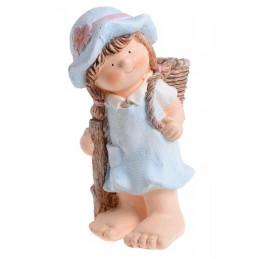 Dziecko z koszem 38 cm - osłonka - ceramika