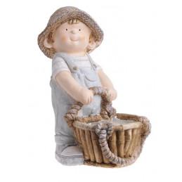 Chłopiec z koszem 40 cm - ceramika