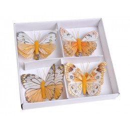 Motyl 8 cm na klipie 8 szt/kpl YELLOW