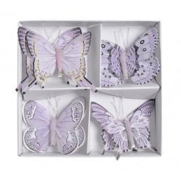 Motyl 8 cm na klipie 8 szt/kpl LILAC