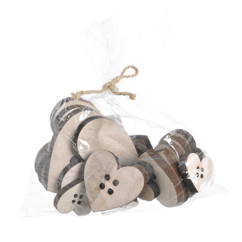 Serca guziki drewniane 3-7 cm