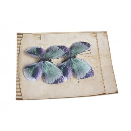 Motyl na klipie 7,5cm, 2szt LT VIOLET/ GREEN