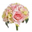 Bukiet róż z hortensją 4+3 28 cm