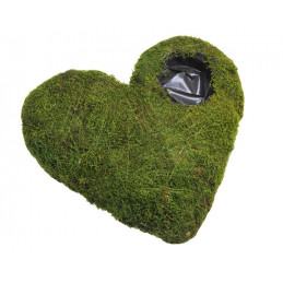 Serce z mchu - Flat moss heart with hole 40 cm