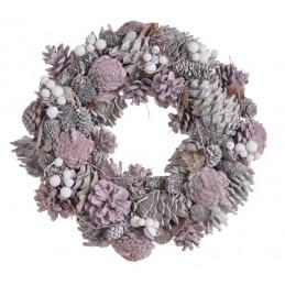 Wianek szyszki 34 cm PINK - artykuł dekoracyjny