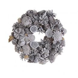 Wianek szyszki 26 cm WHITE - artykuł dekoracyjny