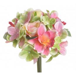 Bukiet z różą,storczykiem i hortensją..28 cm - sztuczna roślina