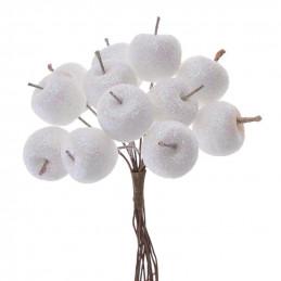 Jabłuszka w brokacie 12szt/pęczek 11cm - paczka 12 pęczków x 12 sztuk