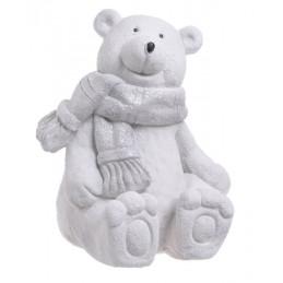 Miś siedzący/stojący zimowy w bieli - art. dekoracyjny