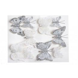 Motylki brokatowe na klipie 10 sztkpl..4-6 cm