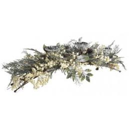 Świecznik zimowy jodłowy z białymi kuleczkami 90 cm