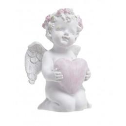 Aniołek z różowym wiankiem i sercem..9cm