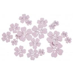 Kwiatki różowe mix, 18szt..7cm, 5cm, 3cm