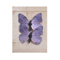 Motyl na klipie 2szt..5cm VIOLET