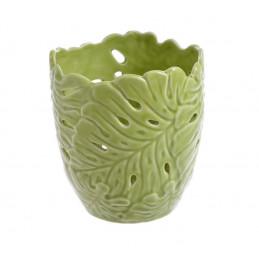 Świecznik liść 11cmH - wyrób ceramiczny