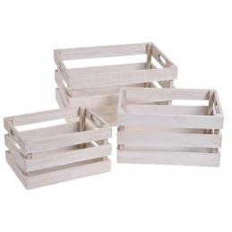 Skrzynki drewniane, zestaw 3szt_24x17x13, 28x20x15, 34x24x18 cm WHITE