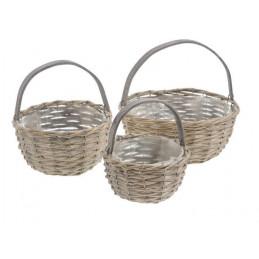 Plecione koszyki okrągłe 3szt..F15-20-25 cm