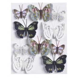 Motylki na klipie 10szt..4,5cm-7,5 cm WH-BLK-BR BASE