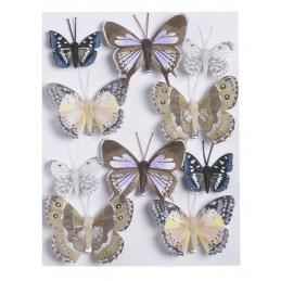 Motylki na klipie 10szt..4,5cm-7,5 cm WH-BR-WLM-VI BASE