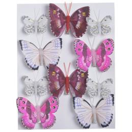 Motylki na klipie 10szt..4,5cm-7,5 cm WH-PK-BU