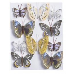 Motylki na klipie 10szt..4,5cm-7,5 cm BLK-YL-VI-WH