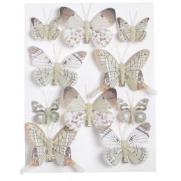 Motylki na klipie 10szt..4 - 7,5 cm BR-LT.OLIVE GR