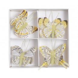 Motyl na klipie 8szt..4,5 cm YELLOW